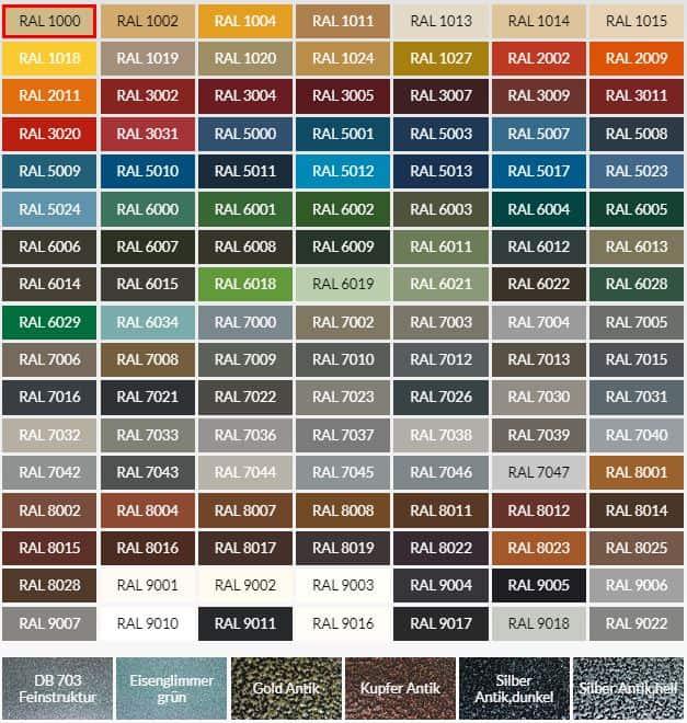 Farbpalette der Farben für den Zaun / Metalzaun / Kunstschmiedezaun | Bergmann Zaun - Berlin, Brandenburg & bundesweit